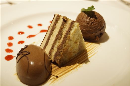 Chocolate Trio - A trio of decadent chocolate desserts combine with raspberry accents for a tasty after dinner treat.