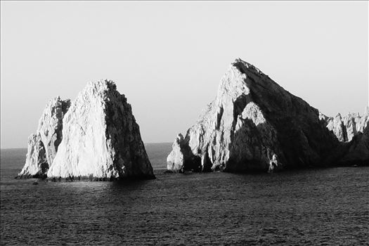 el Arco - Monochrome - Dawn sun lights up el Arco, Cabo San Lucas, Mexico