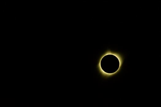The solar corona is only visible during totality which today lasted almost 2 minutes.